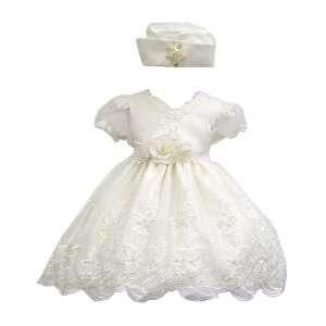 Elegant Baby Girl Ivory White Dress & Hat. Available in 12