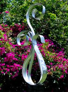 Large Modern Abstract Kinetic Silver Metal Art Indoor/Outdoor