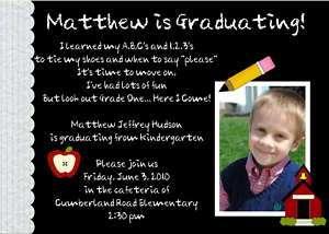 Kingergarten Preschool Graduation Photo Invitation