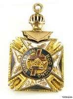 KNIGHTS TEMPLAR   Vintage Masonic York Rite Cross FOB