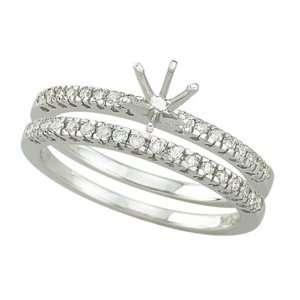 14K White Gold Diamonds Semi Mount Ring Jewelry