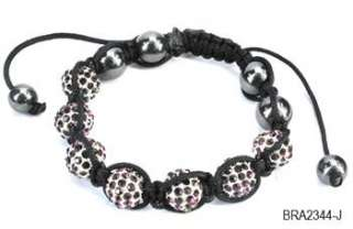 10mm Crystal Pave Disco Ball Adjustable Friendship Bracelet 15 Colors+
