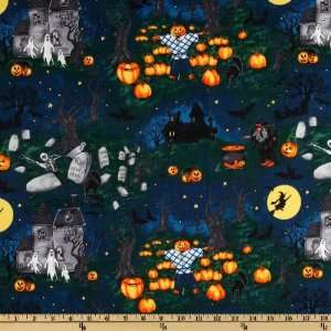 44 Wide Scary Night II Dark Blue Fabric By The Yard