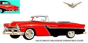 1955 PLYMOUTH BELVEDERE CONVERTIBLE COUPE (RED/BLACK)