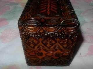 cigarette case box carved wood 2 pack holder wood wooden box case VGC