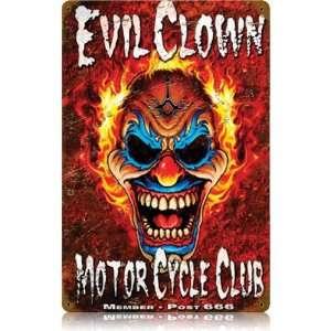 Evil Clown Vintaged Metal Sign: Home & Kitchen