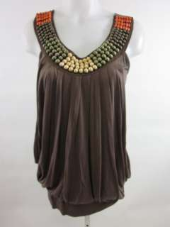 PIACERE DI PIU Brown Beaded Tank Top Blouse Shirt Sz S