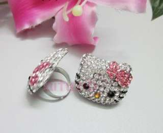 Large hello crystal bling bow kitty pink ring xmas #R5