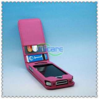 iPhone 4 4G 4th Flip Leather Case Cover Pouch hot pink