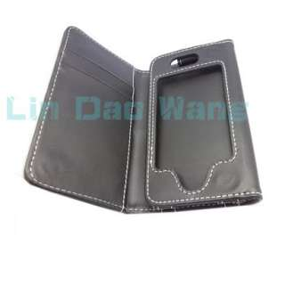 Black Wallet Leather Case Pouch For Apple iPhone 4 4G