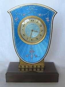 Art Nouveau Phelps & Perry Bronze Enamel Desk Clock