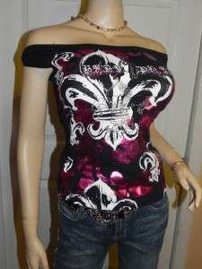 BABY PHAT OFF SHOULDER RHINESTONE FLUER DE LIS METALLIC TOP~SM