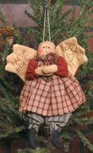 Primitive Rustic Angel Ornie Doll Faith Hope Love