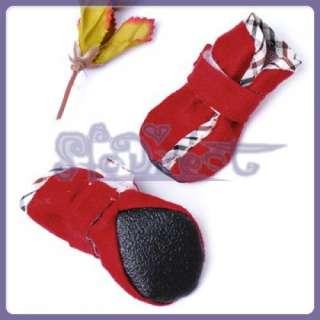 FASHION Faux Suede Dog Boot Santa Xmas Pet Shoe EASY ON