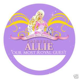 BARBIE PERENNIAL Personalized Birthday Party Favors NAME TAG STICKERS