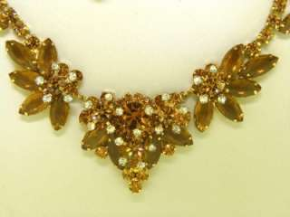 JULIANA D & E Rhinestone Demi Set Necklace Earrings Topaz Brown