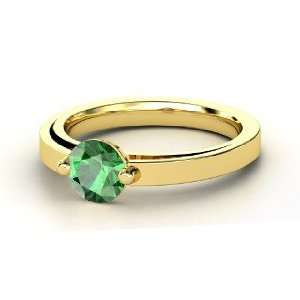 Pinch Ring, Round Emerald 14K Yellow Gold Ring Jewelry