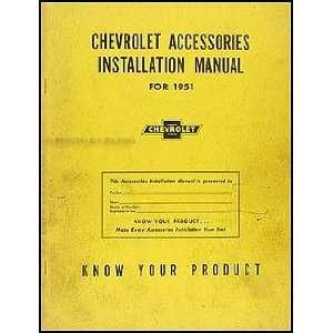 1951 Chevrolet Accessories Installation Manual Original Chevrolet