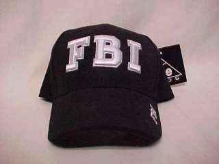 new ICE CAPS Black FBI Logo Baseball Style Hat Cap OSFM