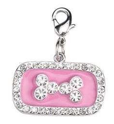 Aria NWT PINK BLUE BONE RHINESTONE DOG COLLAR TAG CHARM