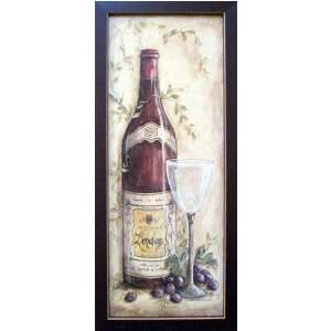 Framed Bordeaux Wine Red Grapes French Country Picture Home & Kitchen