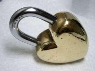 Polished Brass & Steel Heart Shape LOVE Lock~Pat Pend~No key~427 grams