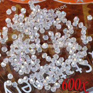 600p AB White Bicone Crystal Glass Loose Beads 3mm Findings Wholesale