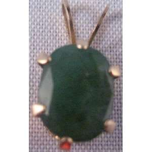Green Jade and Gold Drop for Necklace