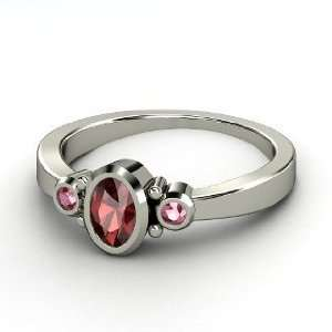 Kira Ring, Oval Red Garnet Sterling Silver Ring with Rhodolite Garnet