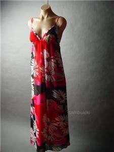 COLORFUL Island Paradise Floral Print Vacation Chiffon Long Maxi Dress