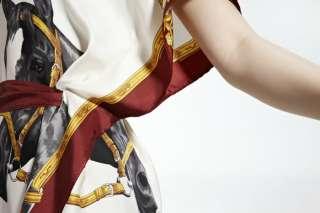 Horse Printing Flappy Dress Silk Dress + Belt