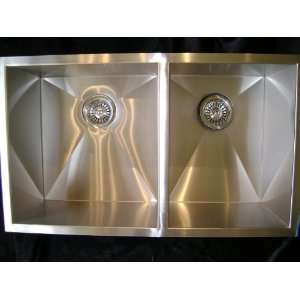 American Series 3322L 90 Degree Double Bowl Undermount Stainless Steel