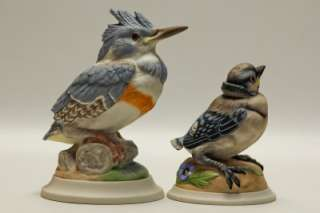 Lot of 2 Boehm Hand Painted Bird Figurines #436 & 449S Kingfisher Baby