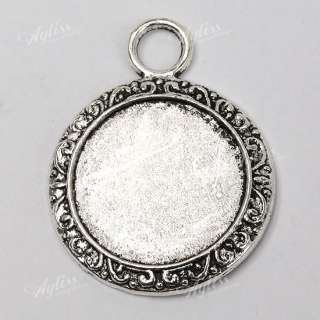 10 Pcs Tibet Silver Big Round Photo Frame Charm Pendant