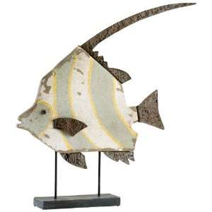 Multi Colored Iron And Wood Tropical Fish Sculpture Home & Kitchen