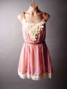 Blush Pink Sweet Romantic Boho Ruffle Ruffled Bib Front Belt Belted
