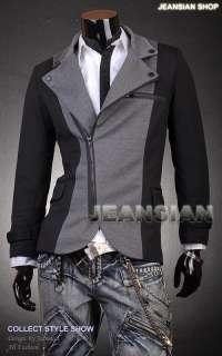 SWM Mens Military Designer Slim Jacket Blazer Coat Shirt Black/Gray S