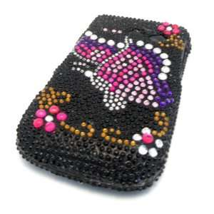 Samsung R375c Straight Talk Black Pink Butterfly Bling Jewel Diamond