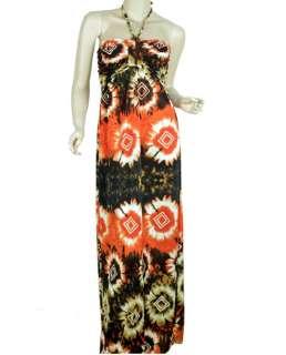 New Womens Vintage Smocked Halter Strap Cocktail Long Maxi Dress E159
