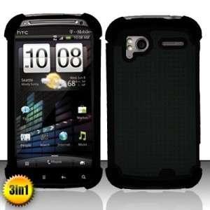 BLACK TRIPLE LAYER HYBRID IMPACT HARD CASE PHONE COVER SKIN HTC