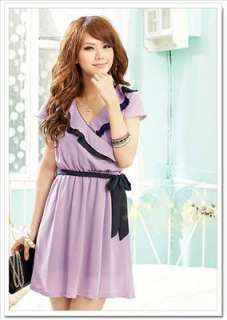Women Ladys korean fashion chiffon cross v neck cocktail dress Q10389