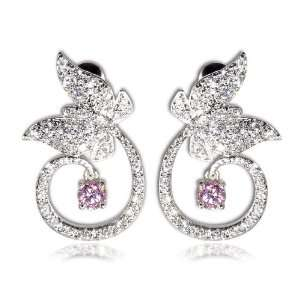 I Lovette Flora Collection CZ Butterfly Pink Sapphire