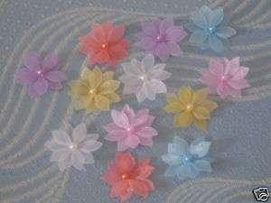 Organza Flower/pearl Appliques*100 pcs*mixed colors