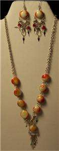 Silver/orange/WH Bead Necklace/Earring w/Gift Box #521
