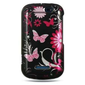 Hard Snap on Shield BLACK With PINK BUTTERFLY Design