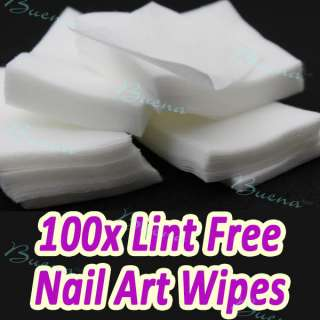 100pcs Lint Free Polish Pad Nail Wipes for UV Gel Acrylic Nail Art
