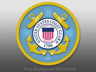 Round US Coast Guard Seal Sticker   decal stickers logo