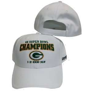 Packers White 4X Super Bowl Champs / Champions Adjustable Velcro Hat