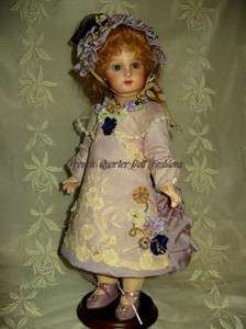 14 ANTIQUE STYLE FRENCH DOLL DRESS FABRIC KIT ~LILAC PURPLE GOLD