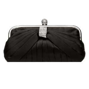 Jet Black Satin Prom or Bridesmaid Purse with Rhinestones